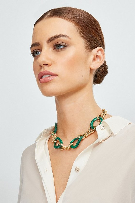 Gold Plated Malachite Chain Necklace