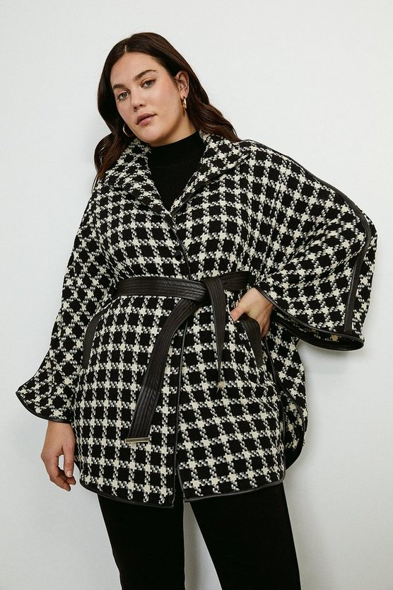 Mono Curve Houndstooth And PU Trim Cape
