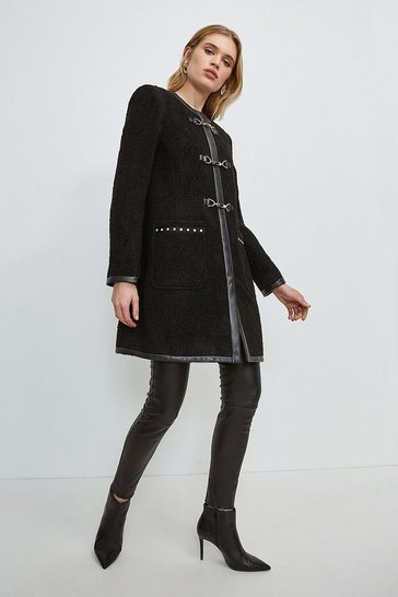 Black Boucle Stud Trim Coat