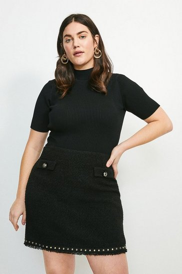 Black Curve Boucle Stud Trim Mini Skirt