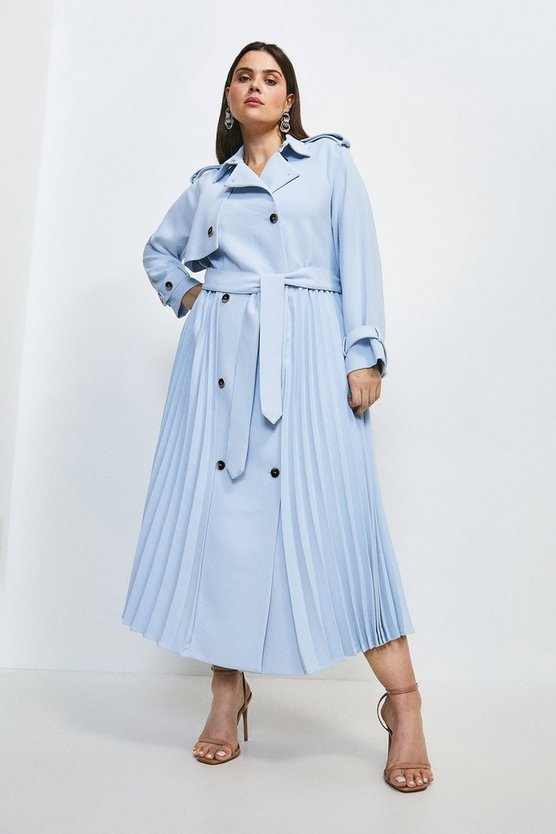 Blue Curve Soft Pleat Detail Trench