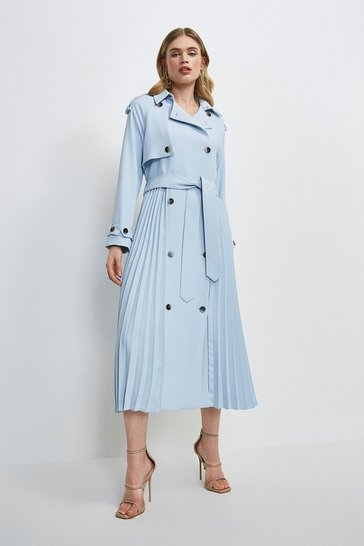 Blue Soft Pleat Detail Trench