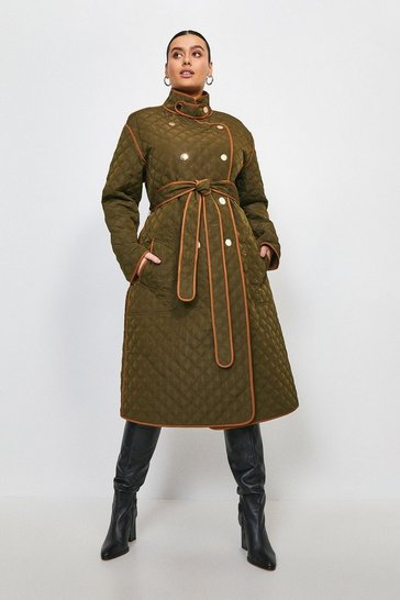 Khaki Curve Reversible Quilted Trench Coat