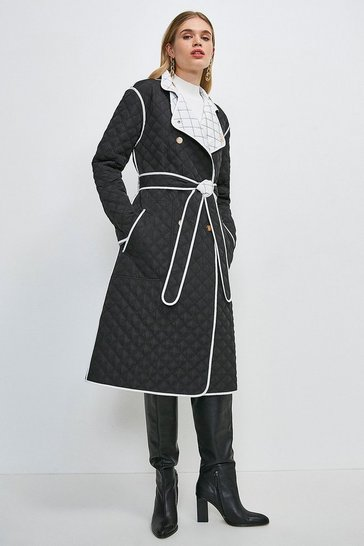 Blackwhite Reversible Quilted Trench Coat