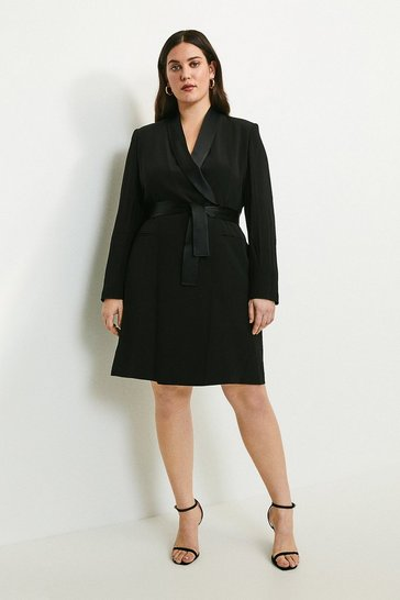 Black Curve Tuxedo Wrap Dress