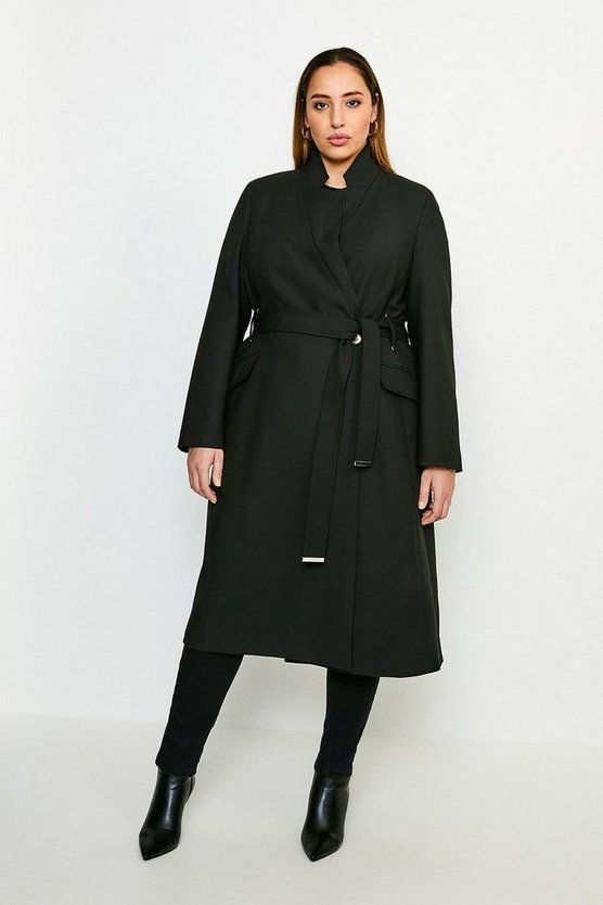 Black Curve Compact Stretch Notch Neck Belted Coat