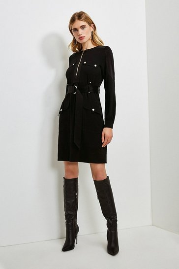 Black Soft Fluid Crepe Luxe Utility Long Sleeve Dress