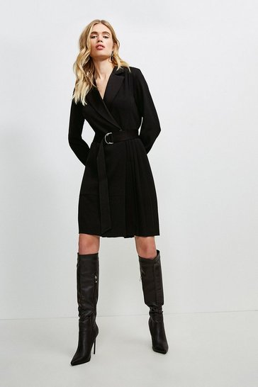 Black Soft Fluid Crepe Luxe Utility Pleated Wrap Dress
