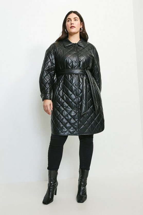 Black Curve Faux Leather Quilted Mac