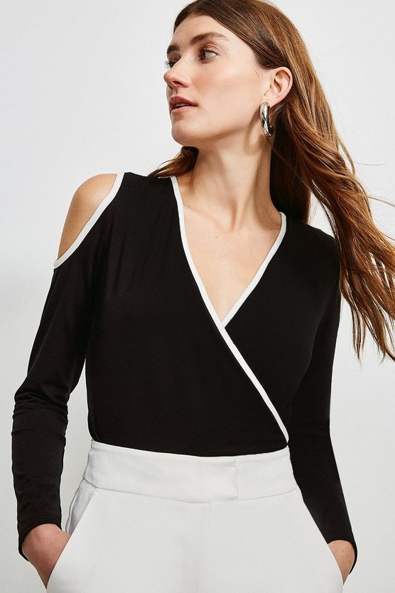 Black Tipped Viscose Jersey Wrap Top