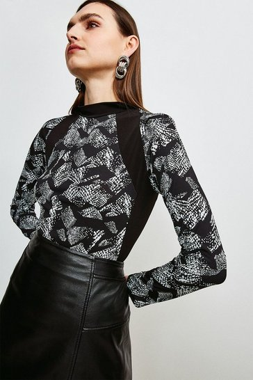Animal Printed Jersey Colour Block Funnel Neck Top