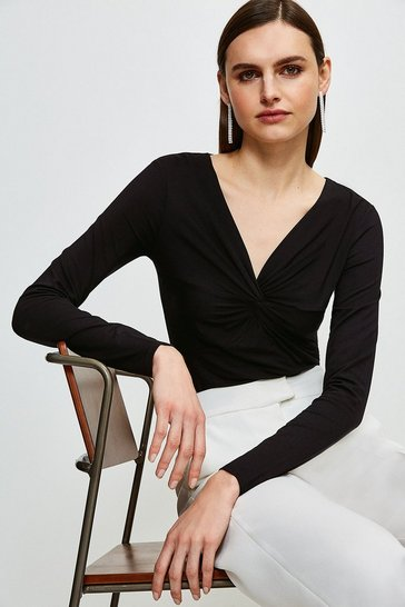 Black Knot Front Jersey Top