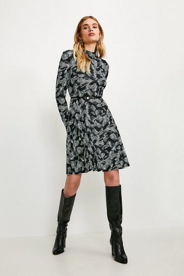 Animal Jersey Belted Funnel Neck Dress