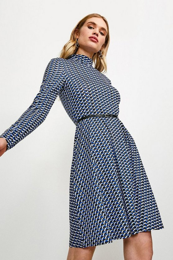 Geo Jersey Belted Funnel Neck Dress