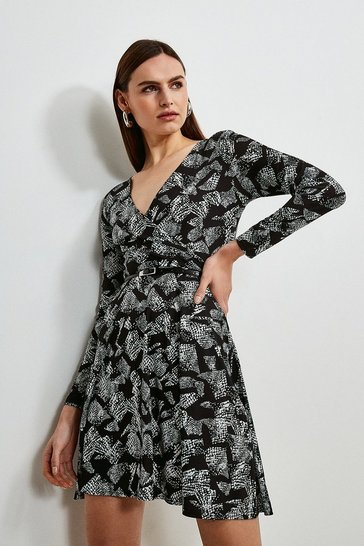 Animal Jersey Belted Wrap Dress