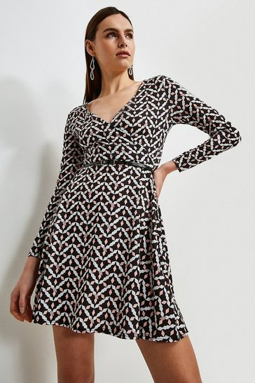 Geo Jersey Belted Wrap Dress