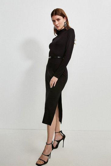 Black Jersey Belted Drape Midi Dress