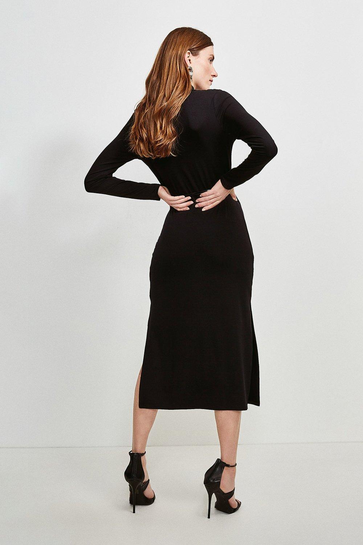 Jersey Belted Drape Midi Dress Karen Millen
