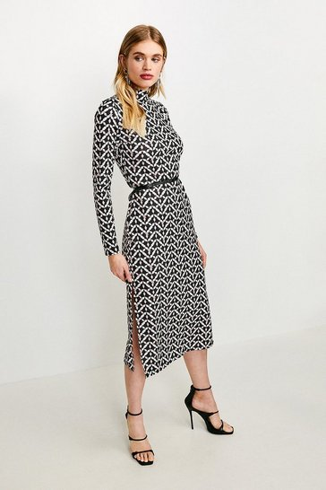 Geo Jersey Belted Drape Midi Dress