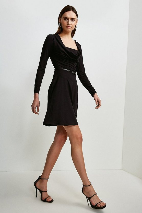 Black Jersey Cowl Layered Belted Dress