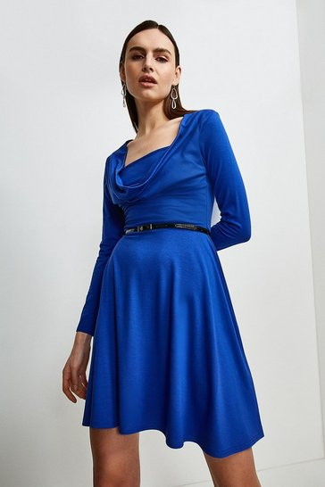 Cobalt Jersey Cowl Layered Belted Dress