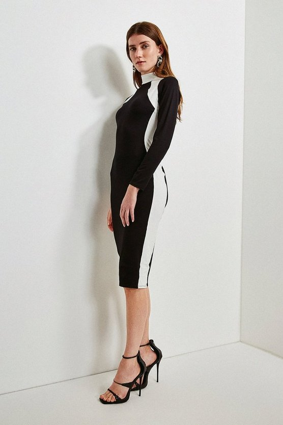 Black Jersey Colour Block Funnel Neck Dress
