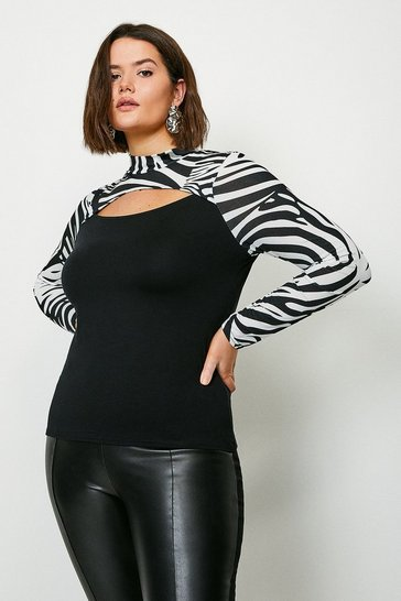 Black Curve Zebra Cut Out Jersey Top