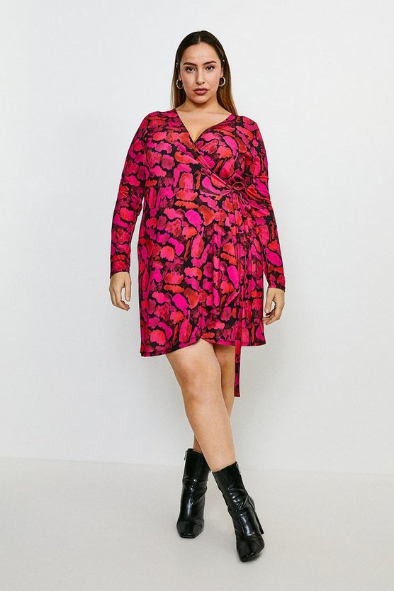 Animal Curve Smudge Leopard Jersey Wrap Dress