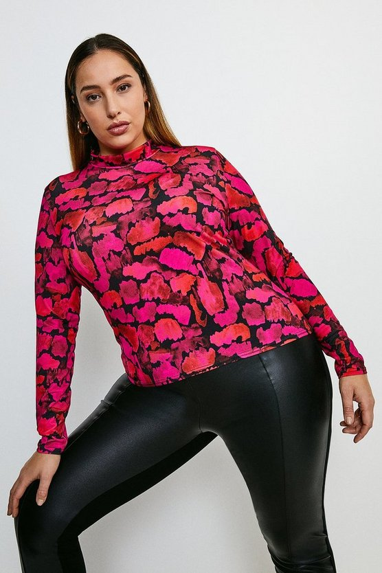 Animal Curve Smudge Leopard Funnel Jersey Top