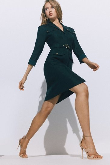 Green Luxe Stretch Twill Utility Sleeved Dress