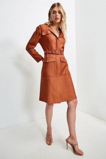Mocha Luxe Stretch Twill Utility Sleeved Dress