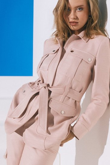 Blush Luxe Stretch Twill Utility Jacket
