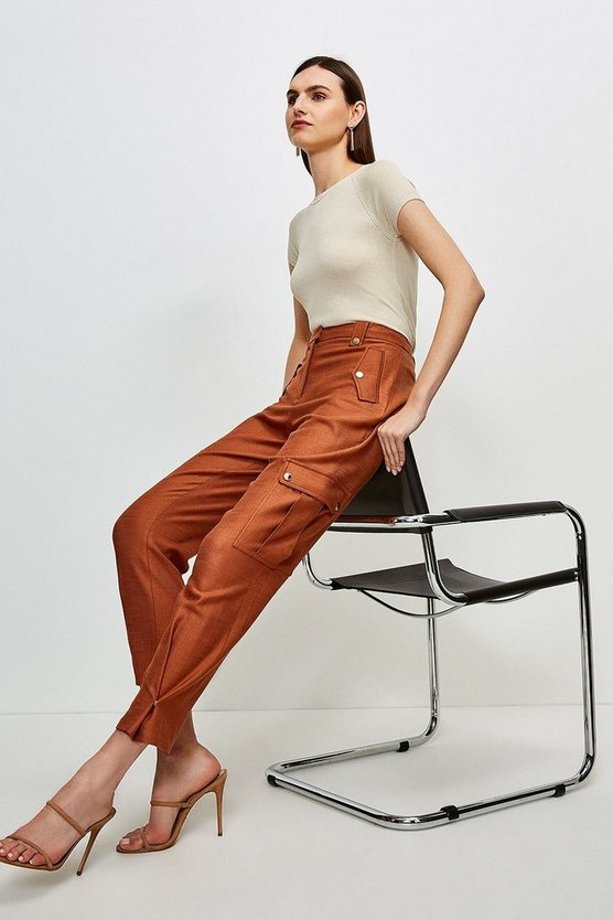 Mocha Luxe Stretch Twill Utility Trouser