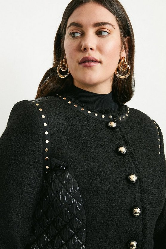 Black Curve Boucle Quilted Studded Trophy Jacket