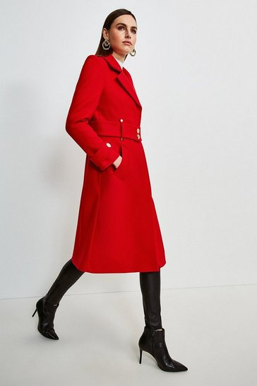 Red Minimal Military Wool Blend Coat