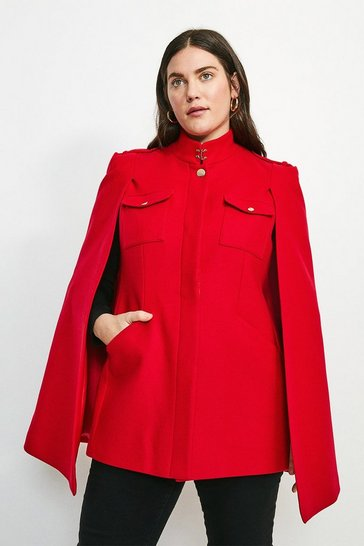 Red Curve Military Melton Cape