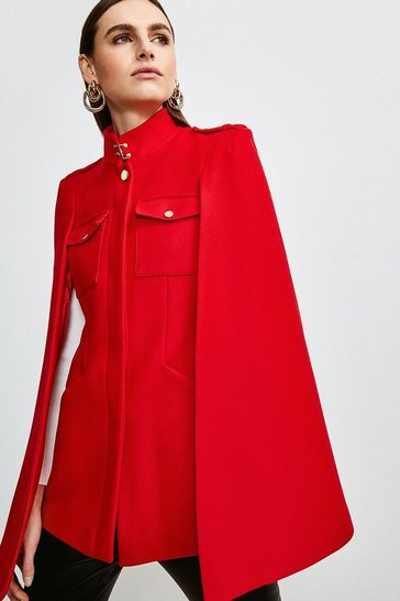 Red Military Melton Cape