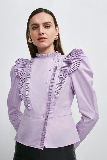 Lilac Pleat Ruffle Button Detail Blouse