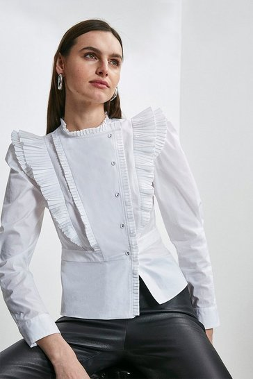 White Pleat Ruffle Button Detail Blouse