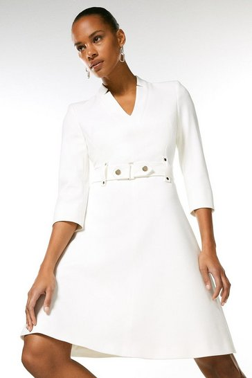 Ivory Forever Cinch Waist A-Line Dress