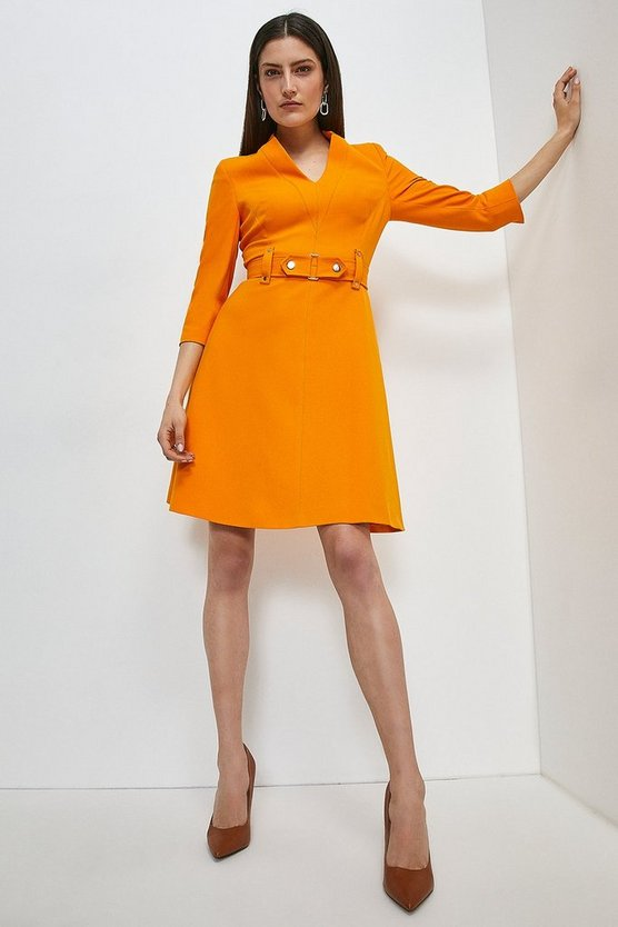 Orange Forever Cinch Waist A-Line Dress