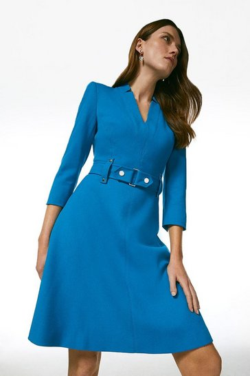 Turquoise Forever Cinch Waist A-Line Dress