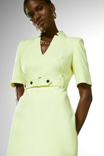 Lime Forever Cinch Waist Pencil Dress
