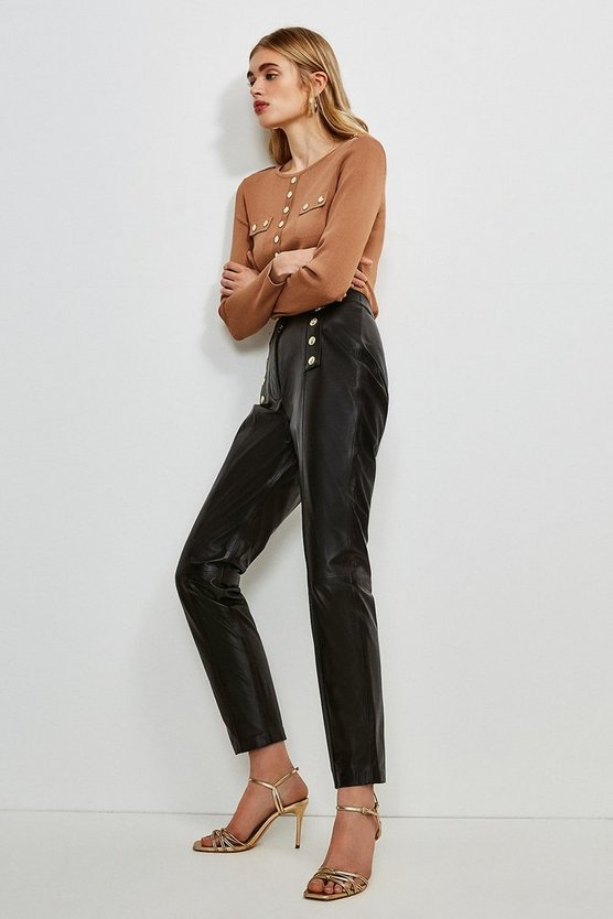 Black Leather Button Placket Trouser