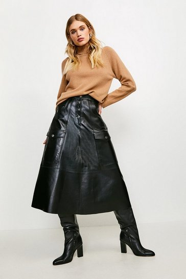 Black Leather Button Front Pocket Detail Skirt