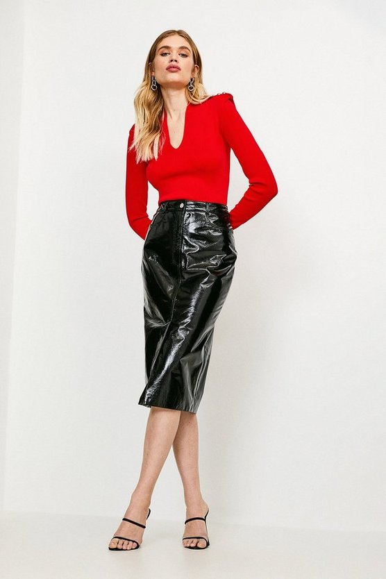 Black Leather Patent Pencil Skirt