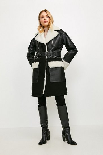 Black Leather And Shearling Layered Biker Trench Coat