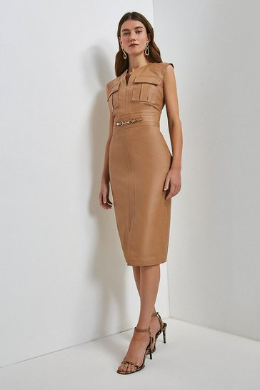 Camel Leather Snaffle Trim Pocket Dress