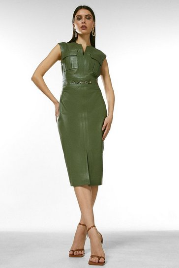 Green Leather Snaffle Trim Pocket Dress
