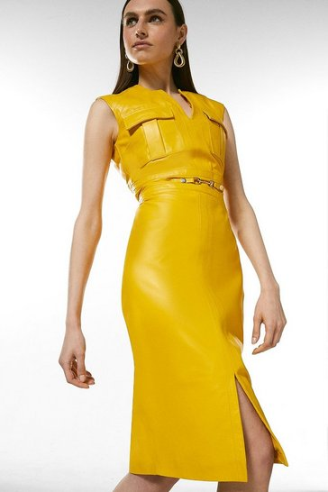 Mustard Leather Snaffle Trim Pocket Dress